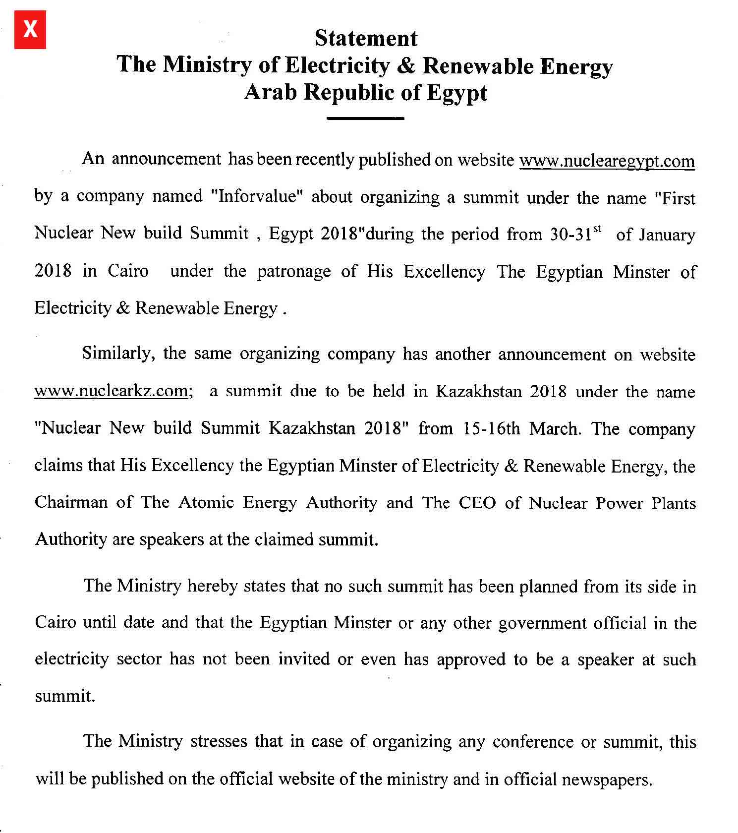The Ministry of Electricity and Renewable Energy